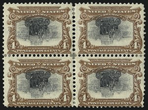 Sale Number 1096, Lot Number 534, 1901 Pan-American Issue Inverts (Scott 294a-296a)4c Pan-American, Center Inverted (296a), 4c Pan-American, Center Inverted (296a)