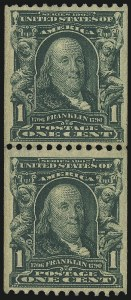 Sale Number 1096, Lot Number 557, 1906-08 Issue Imperforates and Coils (Scott 314A-322)1c Blue Green, Coil (316), 1c Blue Green, Coil (316)