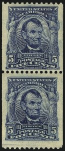 Sale Number 1096, Lot Number 558, 1906-08 Issue Imperforates and Coils (Scott 314A-322)5c Blue, Coil (317), 5c Blue, Coil (317)