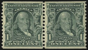 Sale Number 1096, Lot Number 559, 1906-08 Issue Imperforates and Coils (Scott 314A-322)1c Blue Green, Coil (318), 1c Blue Green, Coil (318)