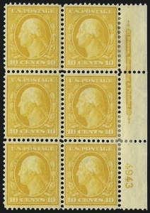 Sale Number 1096, Lot Number 571, 1908-10 Washington-Franklin Issues (Scott 331-356)10c Yellow (338), 10c Yellow (338)