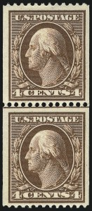 Sale Number 1096, Lot Number 580, 1908-10 Washington-Franklin Issues (Scott 331-356)4c Orange Brown, Coil (350), 4c Orange Brown, Coil (350)