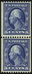 Sale Number 1096, Lot Number 583, 1908-10 Washington-Franklin Issues (Scott 331-356)5c Blue, Coil (351), 5c Blue, Coil (351)