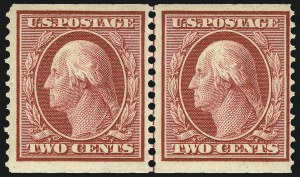 Sale Number 1096, Lot Number 586, 1908-10 Washington-Franklin Issues (Scott 331-356)2c Carmine, Coil (353), 2c Carmine, Coil (353)