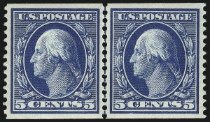 Sale Number 1096, Lot Number 591, 1908-10 Washington-Franklin Issues (Scott 331-356)5c Blue, Coil (355), 5c Blue, Coil (355)