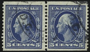 Sale Number 1096, Lot Number 593, 1908-10 Washington-Franklin Issues (Scott 331-356)5c Blue, Coil (355), 5c Blue, Coil (355)
