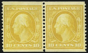 Sale Number 1096, Lot Number 594, 1908-10 Washington-Franklin Issues (Scott 331-356)10c Yellow, Coil (356), 10c Yellow, Coil (356)