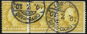 Sale Number 1096, Lot Number 596, 1908-10 Washington-Franklin Issues (Scott 331-356)10c Yellow, Coil (356), 10c Yellow, Coil (356)