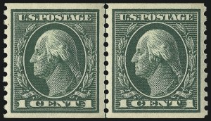 Sale Number 1096, Lot Number 688, 1913-15 Washington-Franklin Issues (Scott 424-461)1c Green, Coil (443), 1c Green, Coil (443)