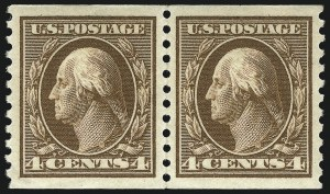 Sale Number 1096, Lot Number 693, 1913-15 Washington-Franklin Issues (Scott 424-461)4c Brown, Coil (446), 4c Brown, Coil (446)