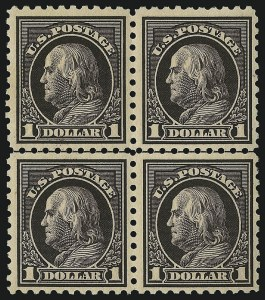 Sale Number 1096, Lot Number 705, 1913-15 Washington-Franklin Issues (Scott 424-461)$1.00 Violet Black (460), $1.00 Violet Black (460)