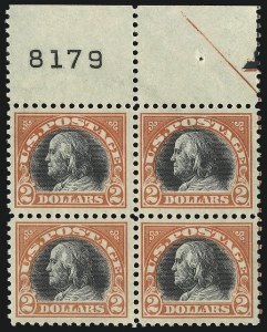 Sale Number 1096, Lot Number 758, 1917-19 Issues (Scott 498-524)$2.00 Orange Red & Black (523), $2.00 Orange Red & Black (523)