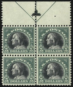 Sale Number 1096, Lot Number 760, 1917-19 Issues (Scott 498-524)$5.00 Deep Green & Black (524), $5.00 Deep Green & Black (524)