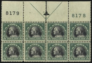 Sale Number 1096, Lot Number 761, 1917-19 Issues (Scott 498-524)$5.00 Deep Green & Black (524), $5.00 Deep Green & Black (524)