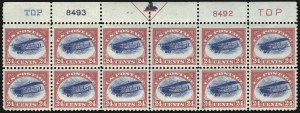 Sale Number 1096, Lot Number 815, Air Post with Inverted Jenny, Position 69 (Scott C1-C3a)24c Carmine Rose & Blue, 1918 Air Post (C3), 24c Carmine Rose & Blue, 1918 Air Post (C3)