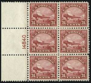 Sale Number 1096, Lot Number 820, Air Post, cont., Buffalo Balloon (Scott C4-C15, CL1)24c Carmine, 1923 Air Post (C6), 24c Carmine, 1923 Air Post (C6)