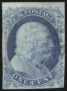 Sale Number 1096, Lot Number 9, 1851-56 Issue (Scott 5-17)1c Blue, Ty. I (5), 1c Blue, Ty. I (5)