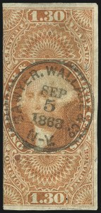 Sale Number 1096, Lot Number 965, First Issue Revenues (Scott R1-R102a)$1.30 Foreign Exchange, Imperforate (R77a), $1.30 Foreign Exchange, Imperforate (R77a)