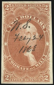 Sale Number 1096, Lot Number 967, First Issue Revenues (Scott R1-R102a)$2.00 Probate of Will, Imperforate (R83a), $2.00 Probate of Will, Imperforate (R83a)