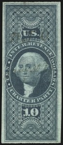 Sale Number 1096, Lot Number 969, First Issue Revenues (Scott R1-R102a)$10.00 Charter Party, Imperforate (R93a), $10.00 Charter Party, Imperforate (R93a)