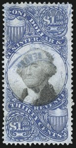 Sale Number 1096, Lot Number 975, Second & Third Issue Revenues with Inverts (Scott R119-R151a)$1.30 Blue & Black, Second Issue (R119), $1.30 Blue & Black, Second Issue (R119)