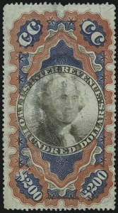 "Sale Number 1096, Lot Number 977, Second & Third Issue Revenues with Inverts (Scott R119-R151a)$200.00 Red, Blue & Black, Second Issue, ""Small Persian Rug"" (R132), $200.00 Red, Blue & Black, Second Issue, ""Small Persian Rug"" (R132)"
