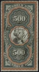"Sale Number 1096, Lot Number 979, Second & Third Issue Revenues with Inverts (Scott R119-R151a)$500.00 Red Orange, Green & Black, Second Issue, ""Large Persian Rug"" (R133), $500.00 Red Orange, Green & Black, Second Issue, ""Large Persian Rug"" (R133)"