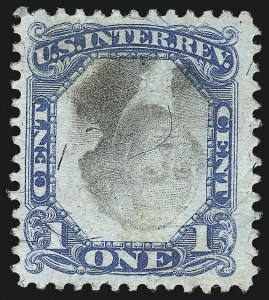 Sale Number 1096, Lot Number 980, Second & Third Issue Revenues with Inverts (Scott R119-R151a)1c Blue & Black, Second Issue, Center Inverted (R103a), 1c Blue & Black, Second Issue, Center Inverted (R103a)