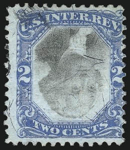Sale Number 1096, Lot Number 981, Second & Third Issue Revenues with Inverts (Scott R119-R151a)2c Blue & Black, Second Issue, Center Inverted (R104a), 2c Blue & Black, Second Issue, Center Inverted (R104a)
