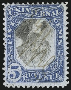 Sale Number 1096, Lot Number 982, Second & Third Issue Revenues with Inverts (Scott R119-R151a)5c Blue & Black, Second Issue, Center Inverted (R107a), 5c Blue & Black, Second Issue, Center Inverted (R107a)