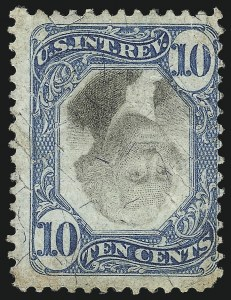 Sale Number 1096, Lot Number 983, Second & Third Issue Revenues with Inverts (Scott R119-R151a)10c Blue & Black, Second Issue, Center Inverted (R109a), 10c Blue & Black, Second Issue, Center Inverted (R109a)