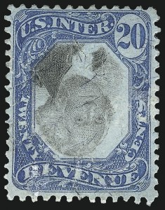 Sale Number 1096, Lot Number 984, Second & Third Issue Revenues with Inverts (Scott R119-R151a)20c Blue & Black, Second Issue, Center Inverted (R111a), 20c Blue & Black, Second Issue, Center Inverted (R111a)