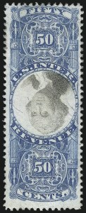 Sale Number 1096, Lot Number 986, Second & Third Issue Revenues with Inverts (Scott R119-R151a)50c Blue & Black, Second Issue, Center Inverted (R115b), 50c Blue & Black, Second Issue, Center Inverted (R115b)
