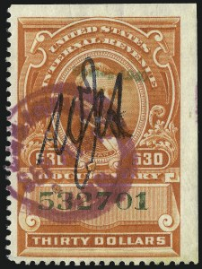 "Sale Number 1096, Lot Number 995, 1898 Spanish-American War, Documentary, Proprietary Revenue Issues$30.00 Vermilion, ""Series 1940"" Handstamped Ovpt. (R282), $30.00 Vermilion, ""Series 1940"" Handstamped Ovpt. (R282)"