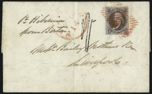 Sale Number 1097, Lot Number 162, United States thru 1847 IssueUNITED STATES, 1847, 5c Red Brown, Double Transfer Ty. B (1-B), UNITED STATES, 1847, 5c Red Brown, Double Transfer Ty. B (1-B)