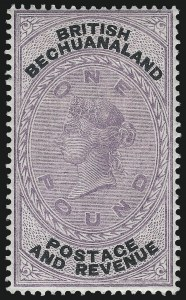 Sale Number 1098, Lot Number 242, Ascension thru British HondurasBRITISH BECHUANALAND, 1887, £1 Lilac (21; SG 20), BRITISH BECHUANALAND, 1887, £1 Lilac (21; SG 20)