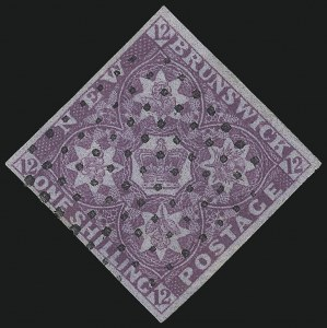 Sale Number 1098, Lot Number 482, Kuwait thru New BrunswickNEW BRUNSWICK, 1851, 1sh Bright Red Violet (3; SG 5), NEW BRUNSWICK, 1851, 1sh Bright Red Violet (3; SG 5)