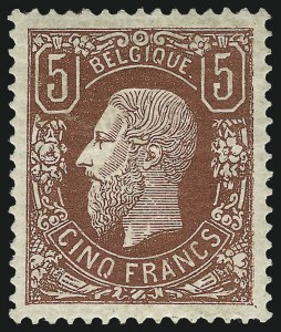Sale Number 1098, Lot Number 578, Fournier Album, Argentina thru BoliviaBELGIUM, 1875, 5fr Deep Brown Red (39; COB 37), BELGIUM, 1875, 5fr Deep Brown Red (39; COB 37)
