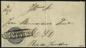 Sale Number 1098, Lot Number 585, Brazil, Specialized CollectionBRAZIL, 1843, 60c Black, Intermediate Impression (2a; RHM 2Fi), BRAZIL, 1843, 60c Black, Intermediate Impression (2a; RHM 2Fi)