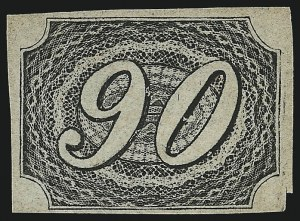 Sale Number 1098, Lot Number 592, Brazil, Specialized CollectionBRAZIL, 1844, 90r Black, Type I (10 var; RHM 7A), BRAZIL, 1844, 90r Black, Type I (10 var; RHM 7A)