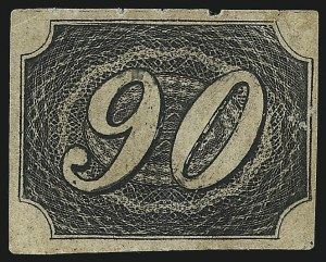 Sale Number 1098, Lot Number 593, Brazil, Specialized CollectionBRAZIL, 1844, 90r Black, Type I, Thick Paper (10 var; RHM 7B), BRAZIL, 1844, 90r Black, Type I, Thick Paper (10 var; RHM 7B)