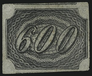 Sale Number 1098, Lot Number 598, Brazil, Specialized CollectionBRAZIL, 1845, 600r Black (13; RHM 10), BRAZIL, 1845, 600r Black (13; RHM 10)