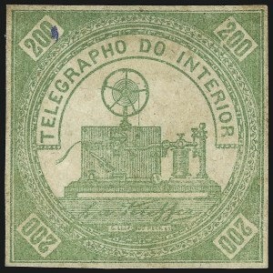 Sale Number 1098, Lot Number 601, Brazil, Specialized CollectionBRAZIL, 1869, 200r Green, Telegraph Stamp (RHM T1), BRAZIL, 1869, 200r Green, Telegraph Stamp (RHM T1)