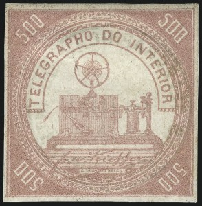 Sale Number 1098, Lot Number 602, Brazil, Specialized CollectionBRAZIL, 1869, 500r Carmine Rose, Telegraph Stamp (RHM T2), BRAZIL, 1869, 500r Carmine Rose, Telegraph Stamp (RHM T2)