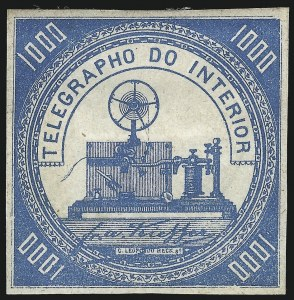 Sale Number 1098, Lot Number 603, Brazil, Specialized CollectionBRAZIL, 1869, 1,000r Blue, Telegraph Stamp (RHM T3), BRAZIL, 1869, 1,000r Blue, Telegraph Stamp (RHM T3)