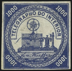 Sale Number 1098, Lot Number 604, Brazil, Specialized CollectionBRAZIL, 1869, 220r-2,000r Telegraph Stamps (RHM T8-T11), BRAZIL, 1869, 220r-2,000r Telegraph Stamps (RHM T8-T11)