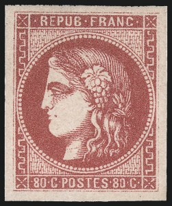 Sale Number 1098, Lot Number 653, FranceFRANCE, 1870, 80c Rose on Pinkish (48; Yvert 49), FRANCE, 1870, 80c Rose on Pinkish (48; Yvert 49)