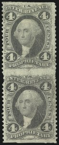Sale Number 1100, Lot Number 144, Revenues (R1 thru R93c)4c Proprietary, Part Perforated (R22b), 4c Proprietary, Part Perforated (R22b)