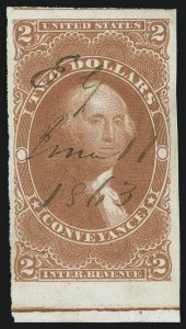 Sale Number 1100, Lot Number 156, Revenues (R1 thru R93c)$2.00 Conveyance, Imperforate (R81a), $2.00 Conveyance, Imperforate (R81a)