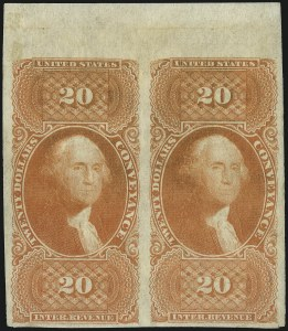 Sale Number 1100, Lot Number 165, Revenues (R95a thru RB6a)$20.00 Conveyance, Imperforate (R98a), $20.00 Conveyance, Imperforate (R98a)